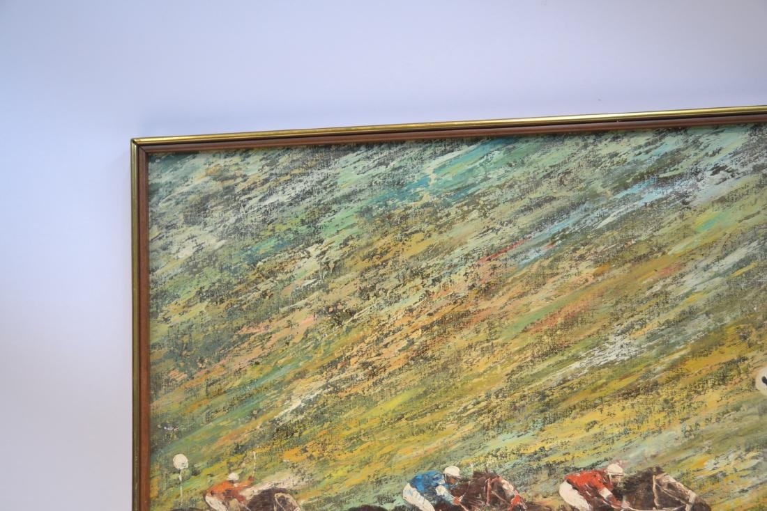 LARGE OIL ON CANVAS OF HORSE RACE SIGNED - 3