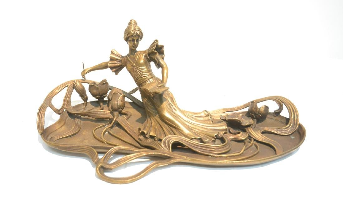 BRONZE NOUVEAU STYLE RECLINING WOMAN WITH BOOK