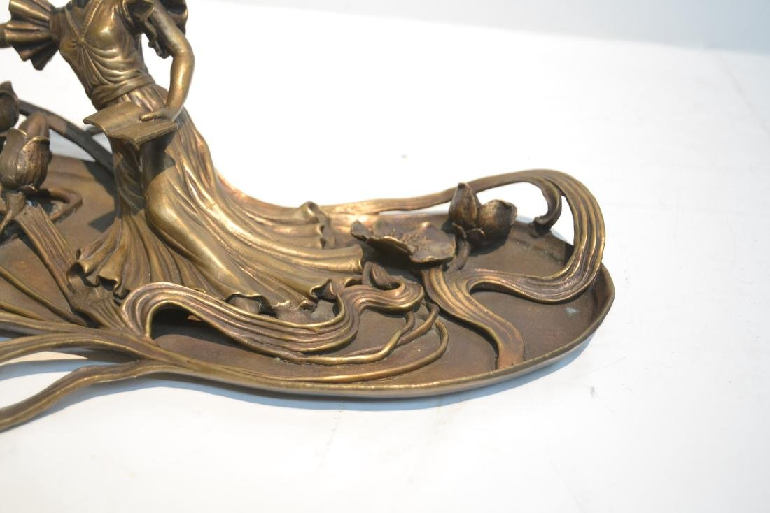 BRONZE NOUVEAU STYLE RECLINING WOMAN WITH BOOK - 5