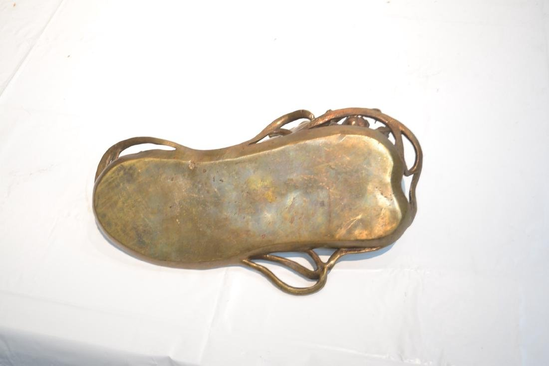 BRONZE NOUVEAU STYLE RECLINING WOMAN WITH BOOK - 6
