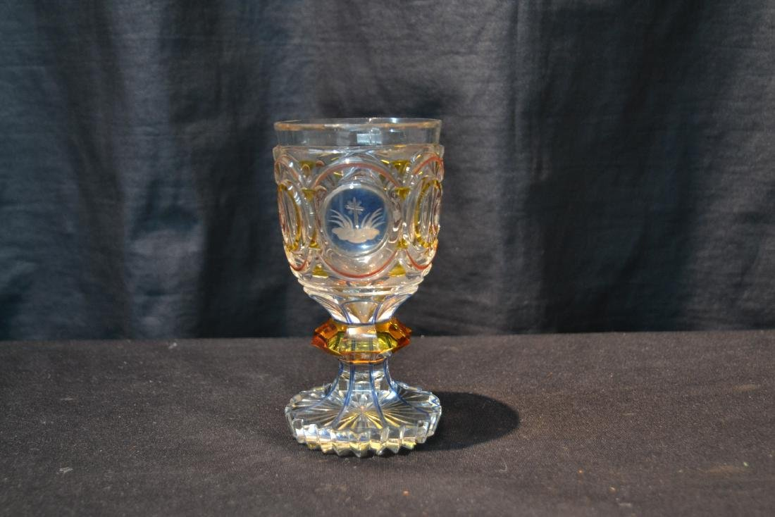 CUT GLASS GOBLET WITH ETCHED MEDALLIONS - 2
