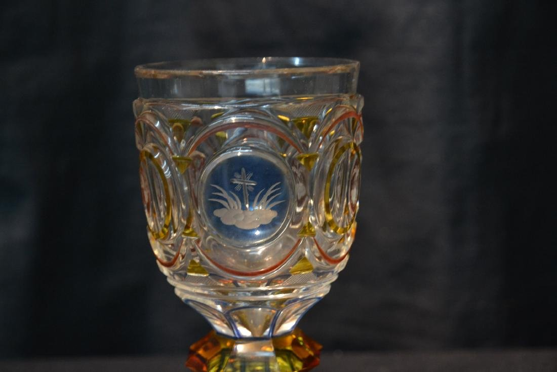 CUT GLASS GOBLET WITH ETCHED MEDALLIONS - 3