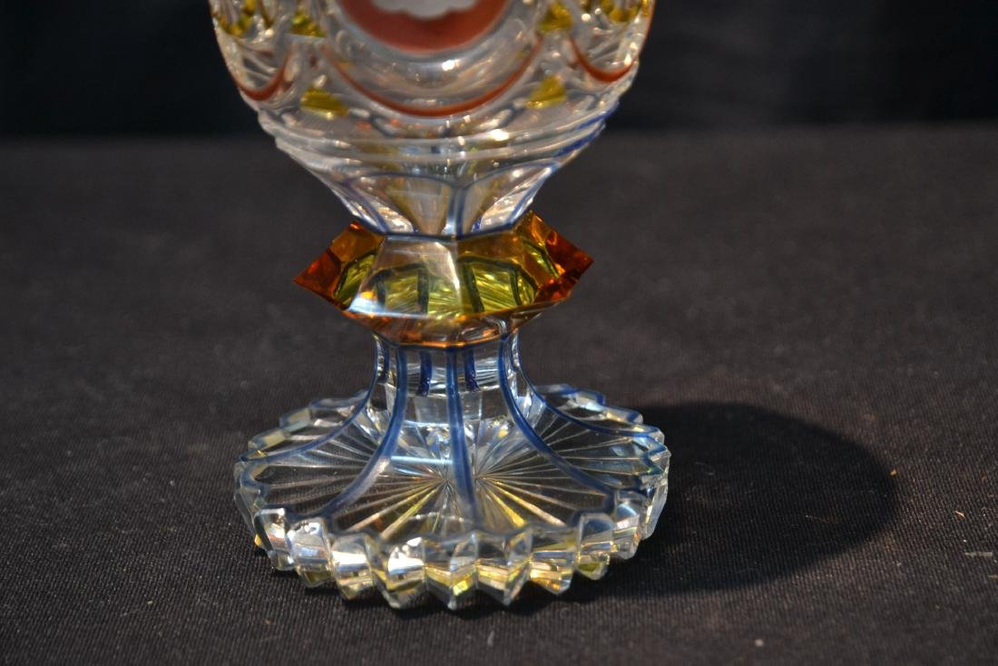 CUT GLASS GOBLET WITH ETCHED MEDALLIONS - 6