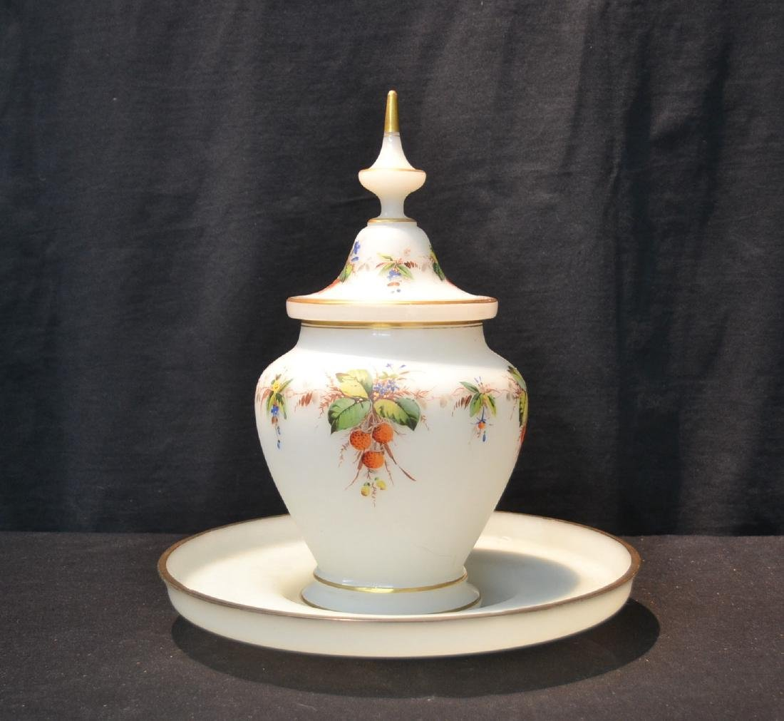 HAND PAINTED OPALINE COVERED BOWL & UNDERPLATE