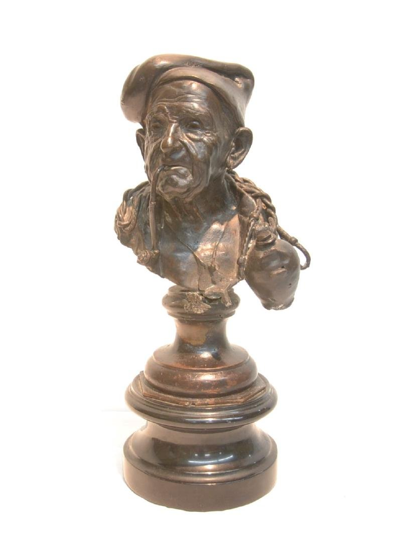 BRONZE SCULPTURE OF OLD MAN WITH PIPE