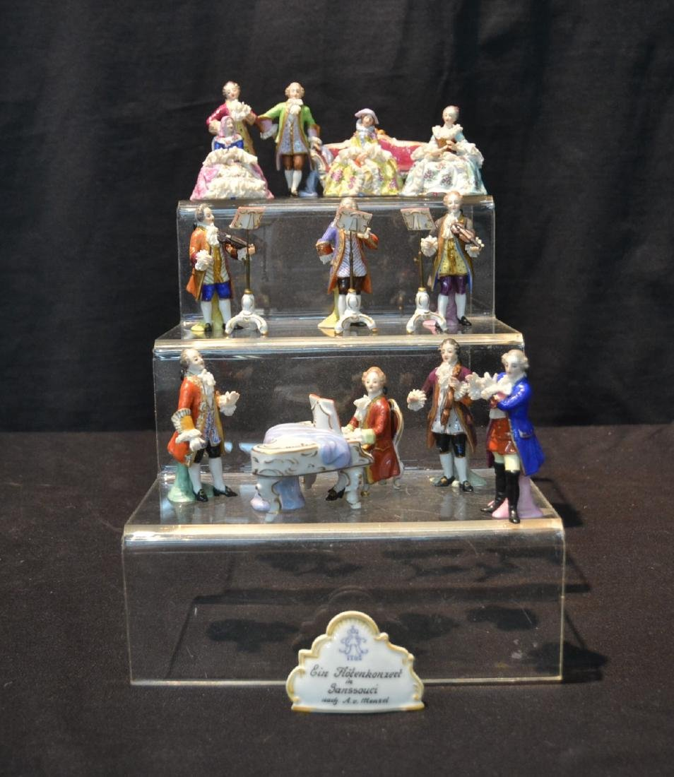 (15)pc MINAITURE DRESDEN PORCELAIN ORCHESTRA WITH