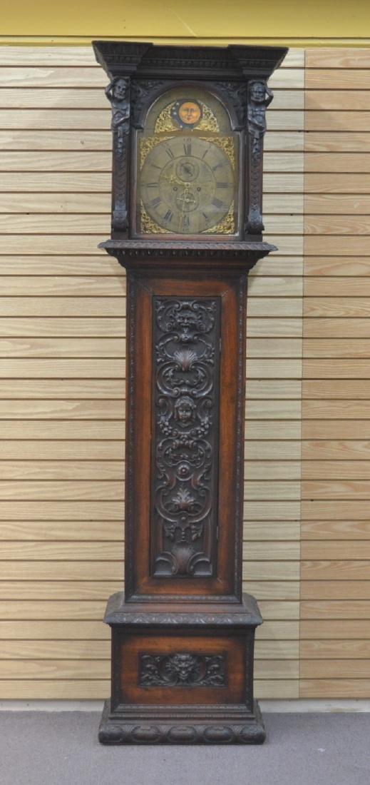 19thC HEAVILY CARVED MAHOGANY TALL CASE CLOCK