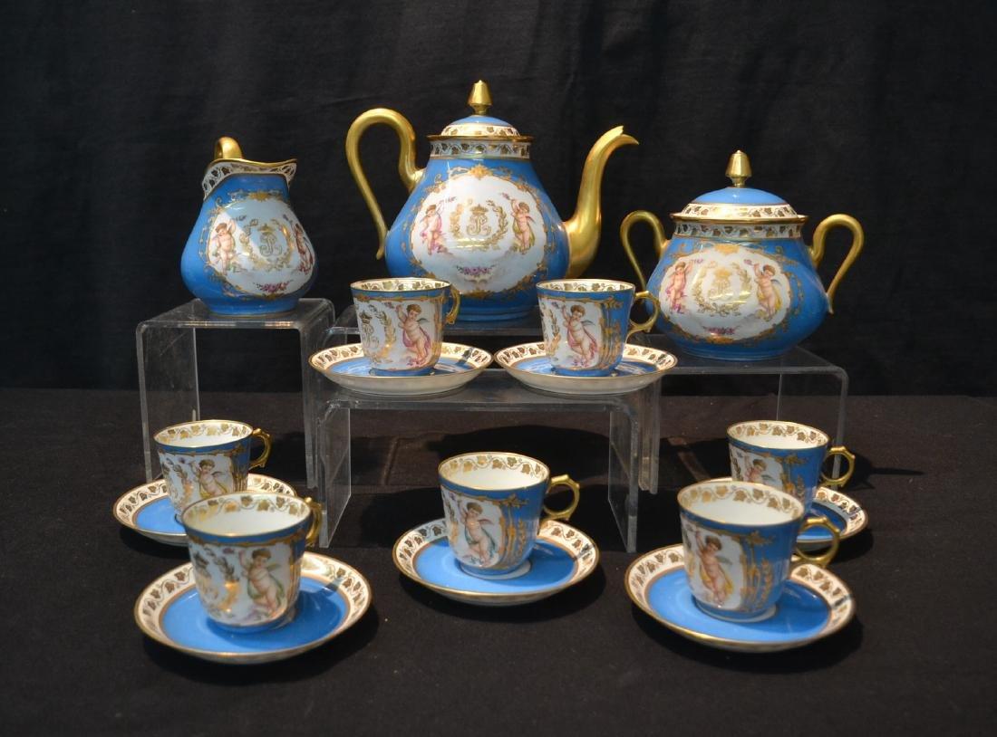 LIMOGES CHATEAU DES TUILERIES HAND PAINTED TEA SET