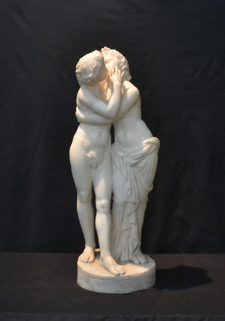 LARGE ALABASTER FIGURE OF SEMI NUDE COUPLE KISSING
