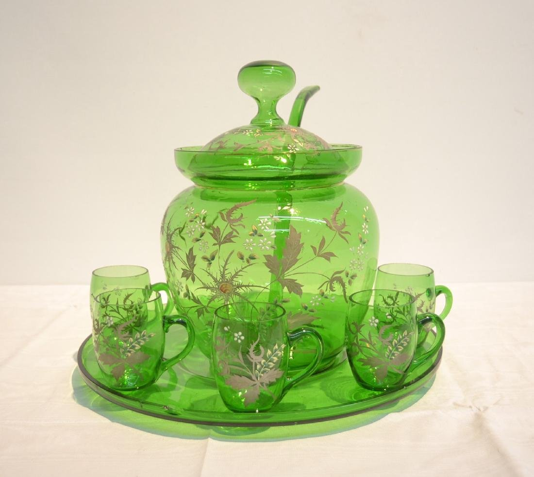 ENAMELED GREEN GLASS PUNCH SET CONSISTING