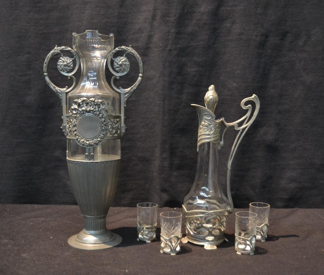 PEWTER ART NOUVEAU DECANTER WITH (4) GLASSES