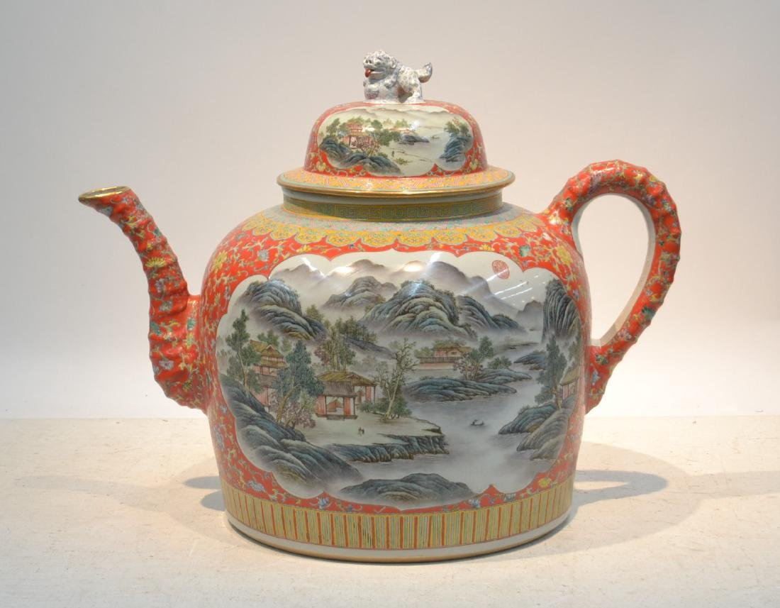 PALATIAL HAND PAINTED CHINESE TEA POT WITH