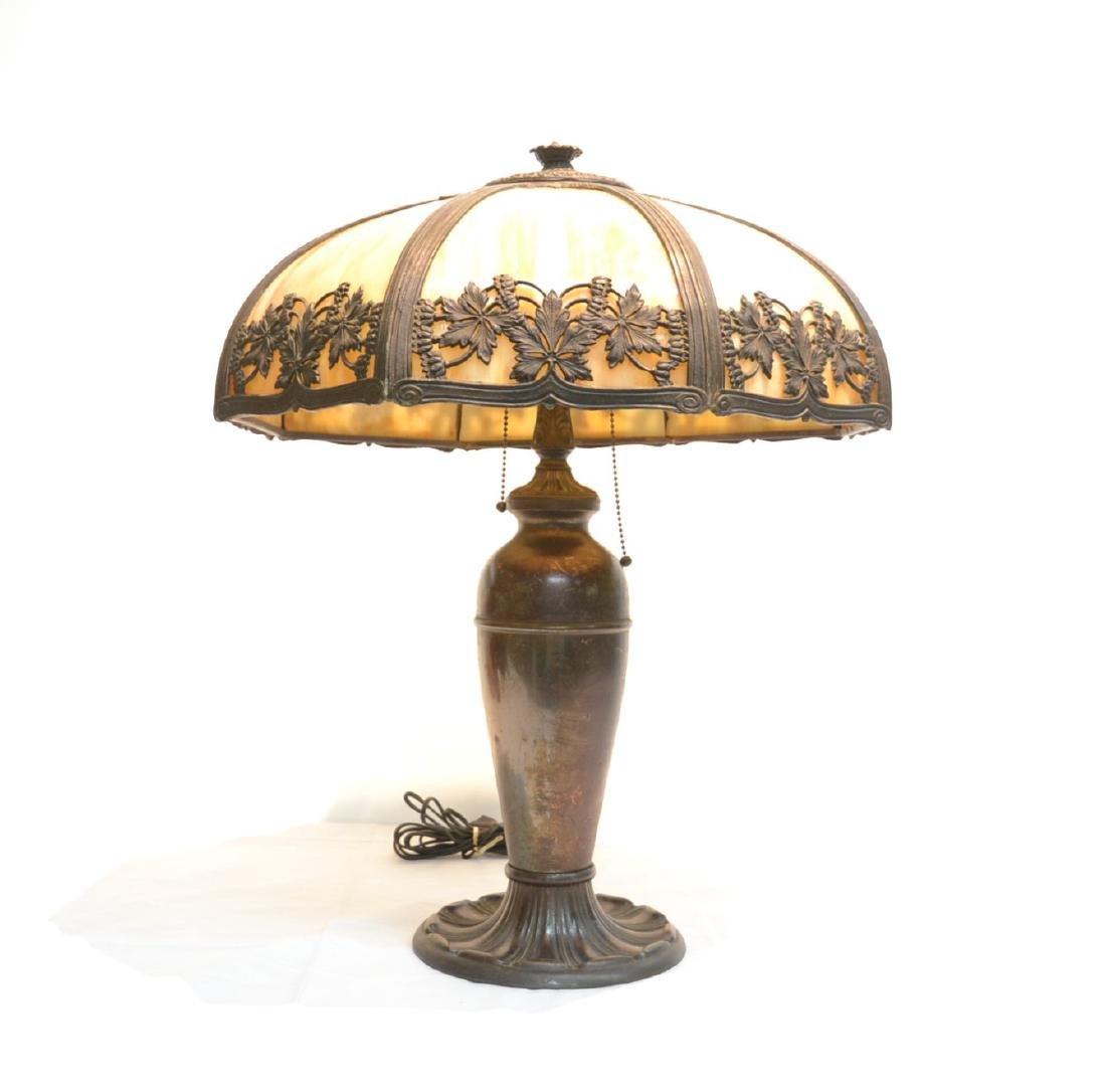 8-PANEL SLAG GLASS LAMP WITH FOLIATE FILIGREE