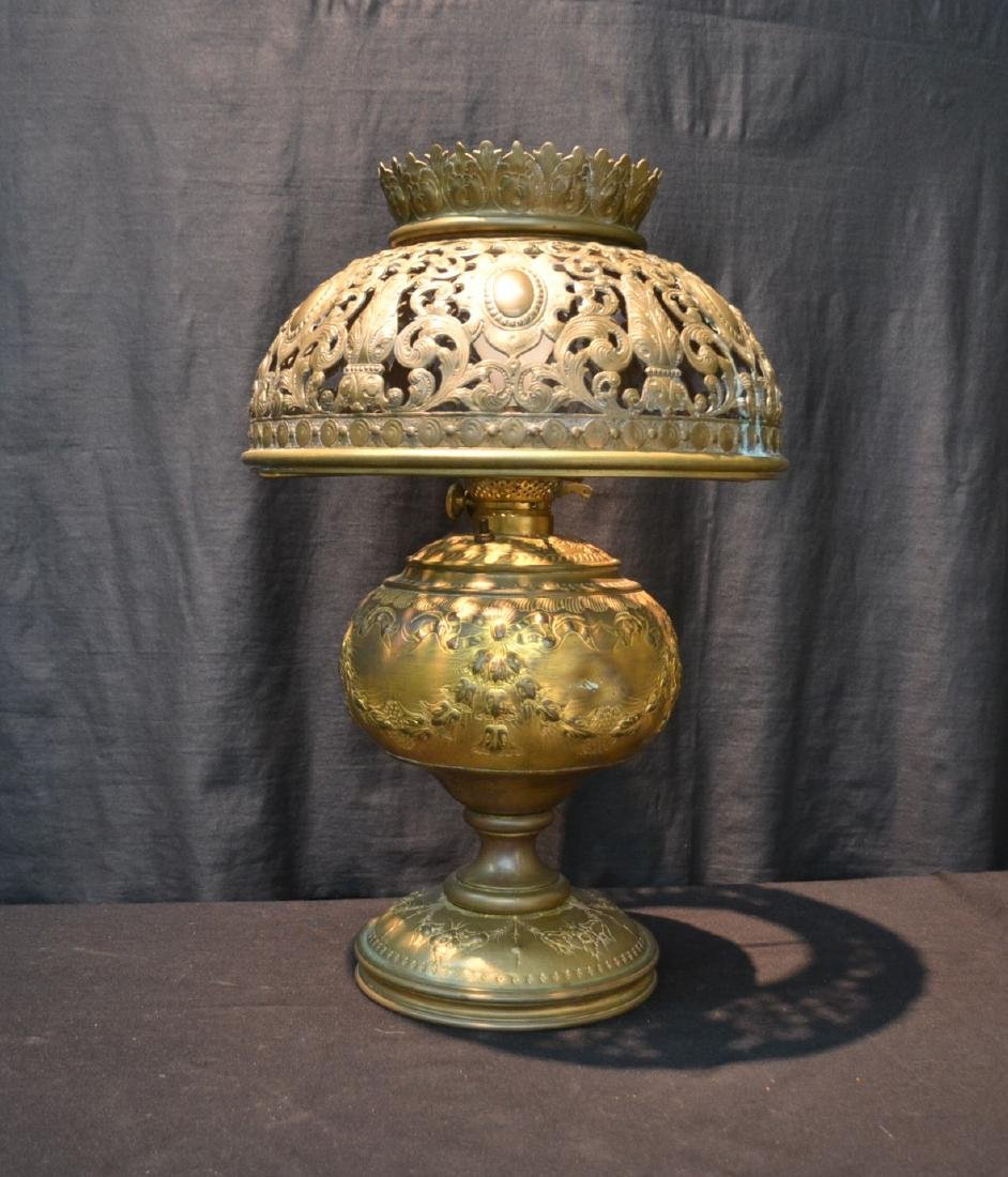 ELECTRIFIED EMBOSSED BRASS OIL LAMP