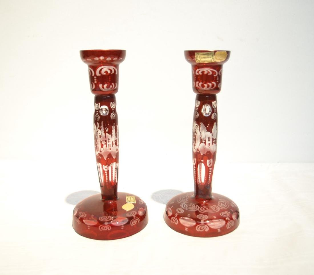 (Pr) ETCHED RUBY BOHEMIAN CANDLESTICKS