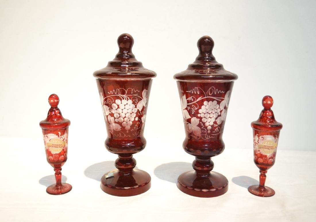 (2)pr's OF ETCHED RED BOHEMIAN COVERED JARS