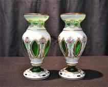 (Pr) BOHEMIAN CUT TO GREEN GLASS VASES