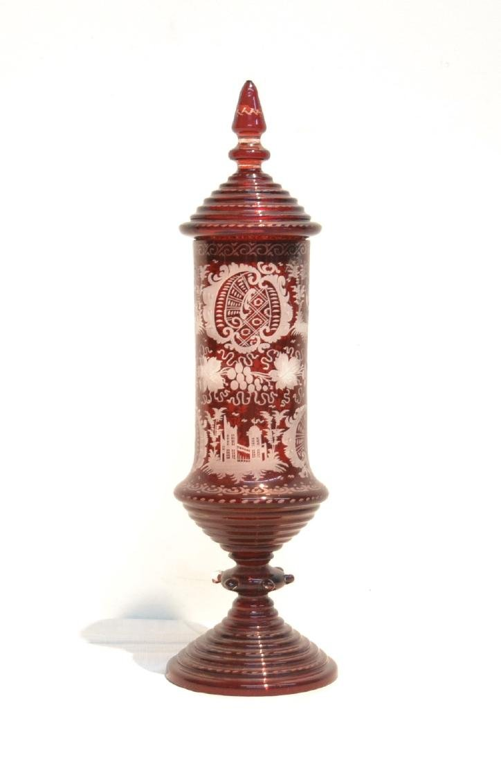RUBY ETCHED BOHEMIAN COVERED POKALE