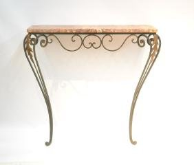 IRON MARBLE TOP WALL MOUNT CONSOLE