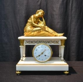 CHARLES OUDIN , PARIS MARBLE & BRONZE MANTLE CLOCK