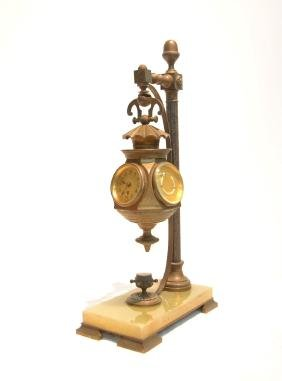 FRENCH INDUSTRIAL BRONZE CLOCK - BAROMETER