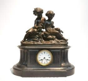 19thC FRENCH MARBLE & BRONZE MANTLE CLOCK