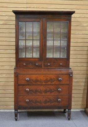 19thC EMPIRE MAHOGANY 3-DRAWER SECRETARY