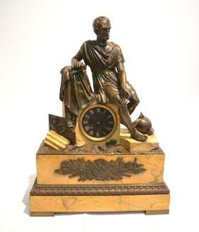 19thC SIENNA MARBLE & FRENCH BRONZE MANTLE CLOCK