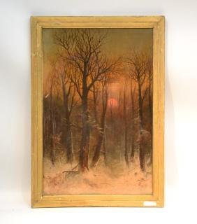 Russian ? Oil On Canvas Winter Evening In The