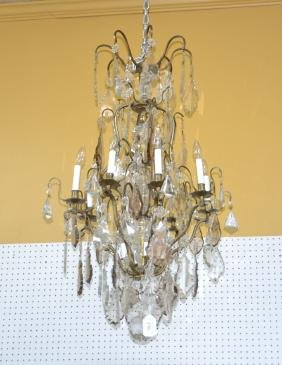 LARGE FRENCH BRONZE & CRYSTAL BIRDCAGE CHANDELIER