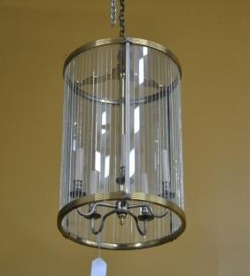 BRONZE & GLASS LANTERN WITH INDIVIDUAL PANES
