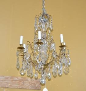 6-LIGHT FRENCH BRONZE & CRYSTAL CHANDELIER
