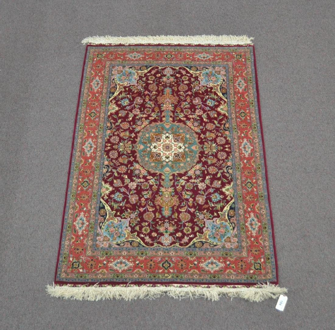 """3' 4"""" x 5' 1"""" ARTIST SIGNED SILK RUG WITH"""
