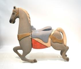 LARGE CARVED WOOD CAROUSEL HORSE