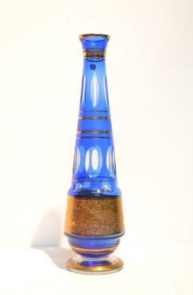BLUE BOHEMIAN GLASS VASE WITH GOLD DECORATIONS