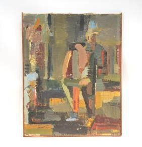 ABSTRACT OIL ON CANVAS WITH JEWISH WRITING ON BACK