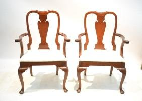 (Pr) MAHOGANY QUEEN ANNE STYLE ARM CHAIRS