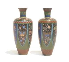 (Pr) EARLY CLOISONNE VASES WITH BUTTERFLIES