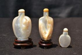 (3) CARVED MOTHER OF PEARL SNUFF BOTTLES