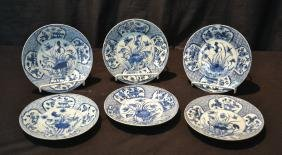 "(6) ORIENTAL BLUE & WHITE PORCELAIN PLATES - 8"""