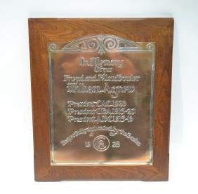 1928 SILVER OVER COPPER BOWLING TROPHY PLAQUE