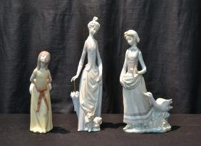 (3) LLADRO FIGURINES - GIRL WITH DUCKS , GIRL WITH