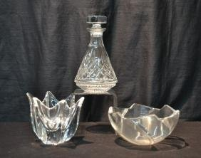 WATERFORD CRYSTAL DECANTER , ORREFORS BOWL &