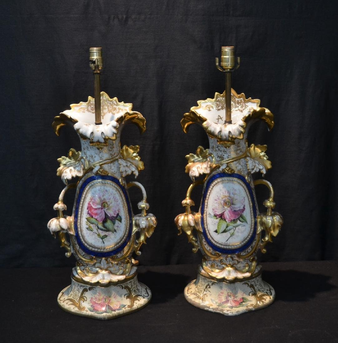 (Pr) LARGE OLD PARIS VASES WITH FLOWERS & GOLD