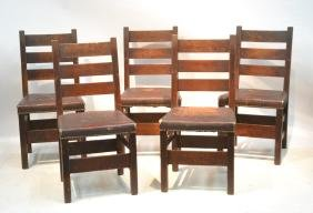 (5) OAK ARTS & CRAFTS DINING CHAIRS WITH LEATHER