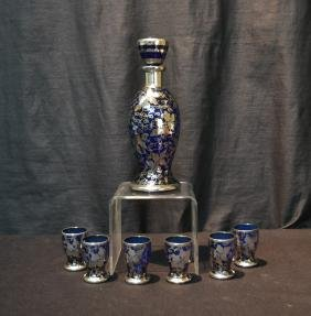 BLUE SILVER OVERLAY GLASS CORDIAL SET CONSISTING