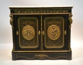 19thc Napoleon Iii 2-door Boulle Side Cabinet