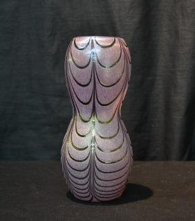 SILVER OVERLAY ART GLASS DOUBLE GOURD VASE