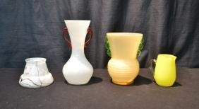 "(4)pc""s CZECHOSLAVAKIAN GLASS VASES & CREAMER"