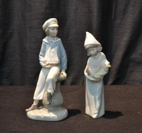 LLADRO BOY HOLDING BOAT & LLADRO GIRL WITH CHICKEN